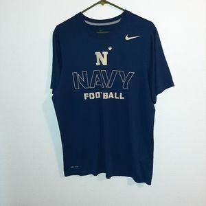 Blue Nike Dri-Fit Navy Football Tshirt Size Large